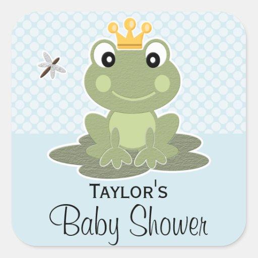 Frog Prince Favor Labels Square Sticker