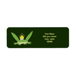 Frog Prince Funny Cartoon Cute Charming Green Chic Return Address Label