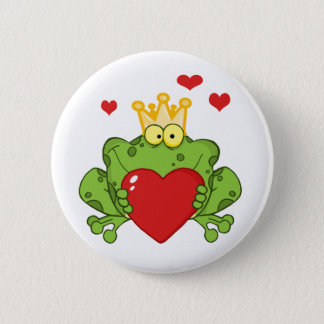 Frog Prince Holding A Red Heart 6 Cm Round Badge