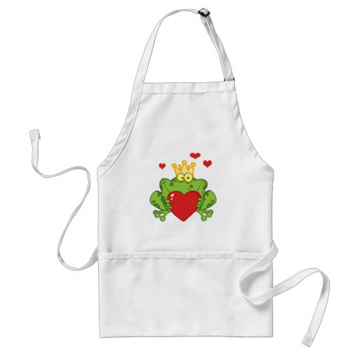 Frog Prince Holding A Red Heart Apron