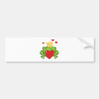 Frog Prince Holding A Red Heart Bumper Sticker