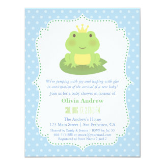 Frog Prince Polka Dots Baby Shower Invitations