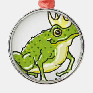Frog Prince Princess Sketch Silver-Colored Round Decoration