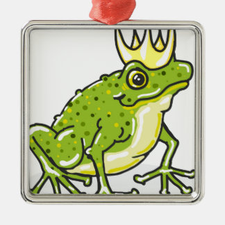 Frog Prince Princess Sketch Silver-Colored Square Decoration