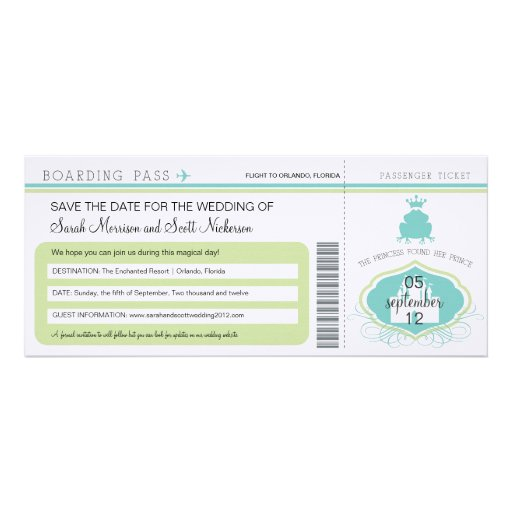 Frog Prince Save the Date Boarding Pass Personalized Announcement
