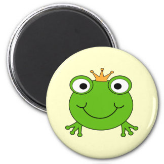 Frog Prince. Smiling Frog with a Crown. 6 Cm Round Magnet