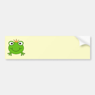 Frog Prince. Smiling Frog with a Crown. Bumper Sticker