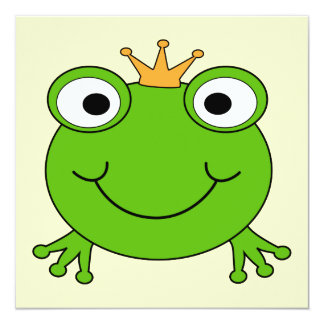 Frog Prince. Smiling Frog with a Crown. 13 Cm X 13 Cm Square Invitation Card
