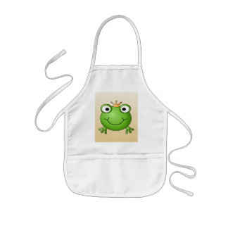 Frog Prince. Smiling Frog with a Crown. Kids Apron