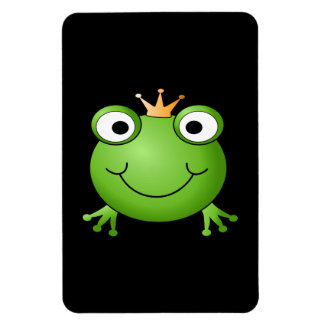 Frog Prince Smiling Frog with a Crown Rectangle Magnets