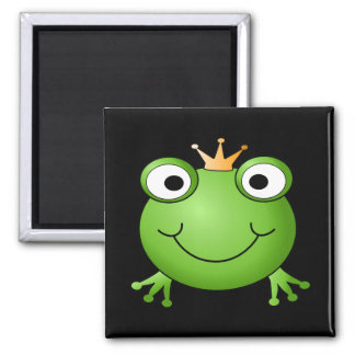 Frog Prince. Smiling Frog with a Crown. Square Magnet