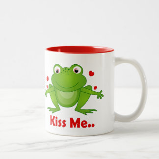 frog prince with kiss me text mugs