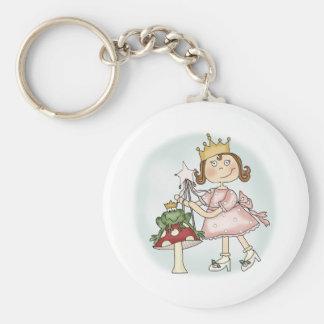 Frog Princess Basic Round Button Key Ring