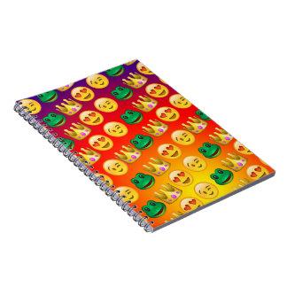Frog & Princess Emojis Pattern Spiral Notebook