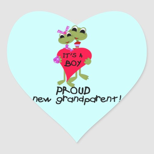 Frog Proud Grandparent of Boy Gifts Heart Sticker