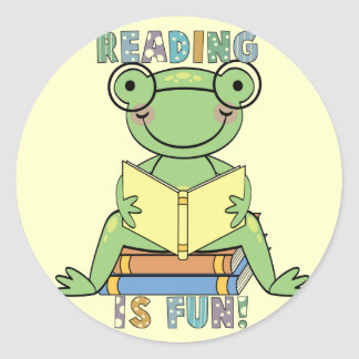 Frog Reading is Fun T-shirts and Gifts Round Sticker