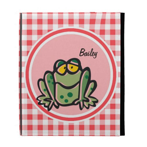 Frog; Red and White Gingham iPad Folio Cases