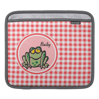Frog Red and White Gingham Sleeves For iPads