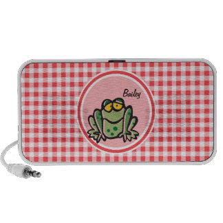 Frog Red and White Gingham Travel Speaker