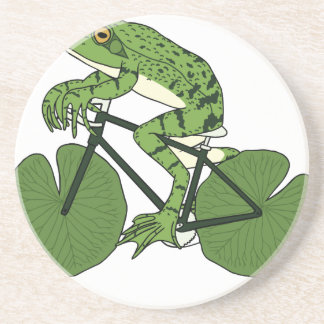 Frog Riding Bike With Lily Pad Wheels Coaster