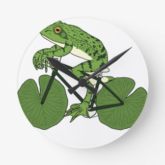 Frog Riding Bike With Lily Pad Wheels Round Clock
