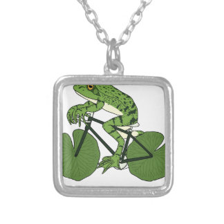 Frog Riding Bike With Lily Pad Wheels Silver Plated Necklace