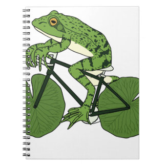 Frog Riding Bike With Lily Pad Wheels Spiral Notebooks