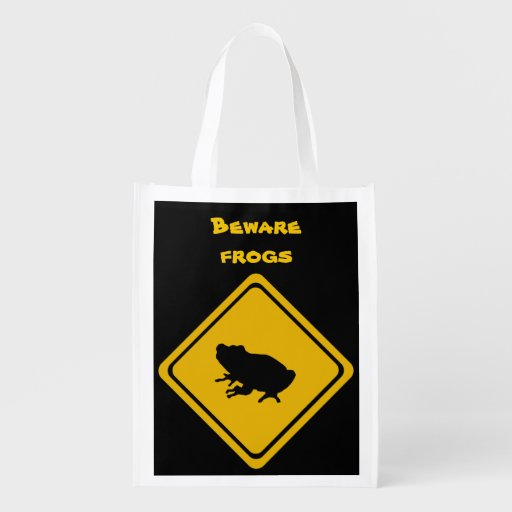 frog road sign reusable grocery bags