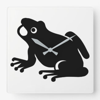 Frog Silhouette Square Wall Clock