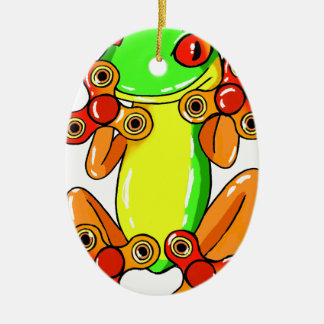 Frog spinner ceramic ornament