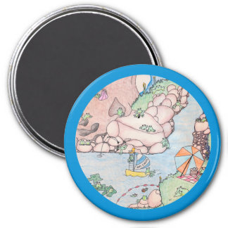 Frog Summer in Lake w Blue Trim Large Magnet