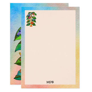 Frog Tree of Life Watercolor Monogram Stationery Card