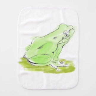 Frog water color burp cloth