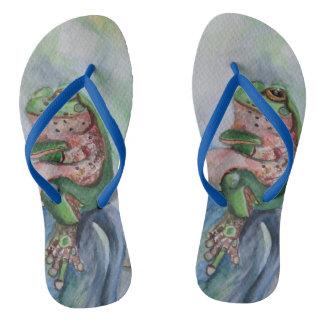Frog Watercolor Flip Flops