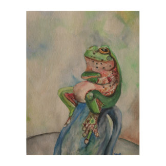 Frog Watercolor painting  Wood Wall Art