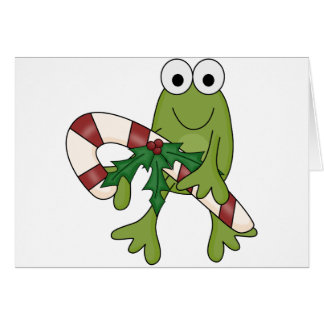 Frog With Candy Canes Tshirts and Gifts Card