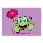 Frog With Flower, Happy 1st Birthday! Greeting Card
