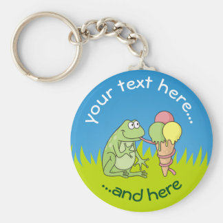 Frog with Icecream on Grass Key Ring