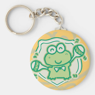 Frog with Maracas Tshirts and Gifts Basic Round Button Key Ring
