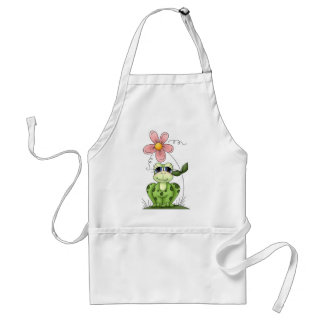 frog with pink flower standard apron