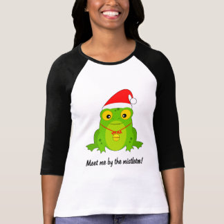 Frog with Santa Hat, Bell and Mistletoe T-Shirt