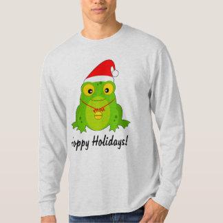 Frog with Santa Hat Hoppy Holidays T-Shirt