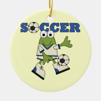 Frog With Soccer Ball T-shirts and Gifts Ceramic Ornament