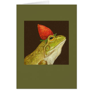 frog with strawberry card