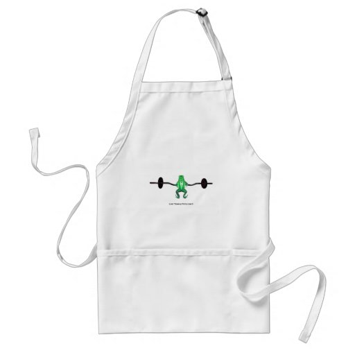 frog with weights green apron