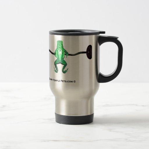 frog with weights green coffee mug