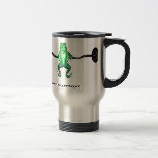 frog with weights green travel mug