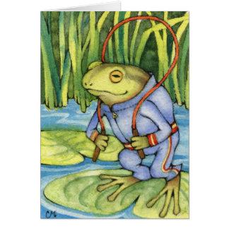 Frog Workout - cute amphibian art Card