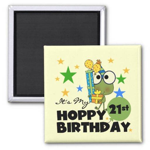 Froggie Hoppy 21st Birthday Refrigerator Magnet