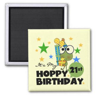 Froggie Hoppy 21st Birthday Square Magnet